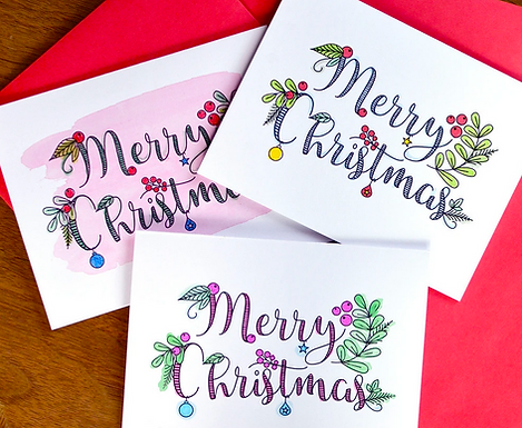 Set of 6 Merry Christmas DIY Holiday Coloring Cards by Pennie Post