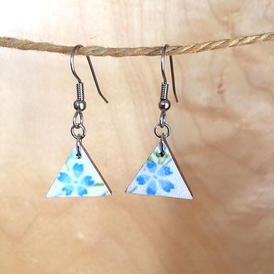 Small Blue Sakura Triangle Earrings by Chibi Jay Designs