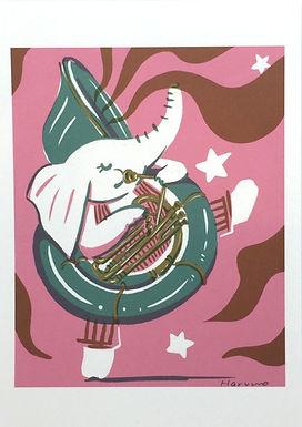 Elephant Musician Print by Harumo Sato