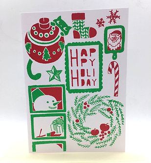 Happy Holiday Hand-Printed Card by Harumo Sato