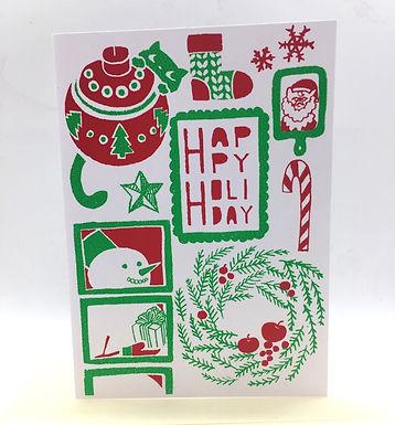 Happy Holiday Hand-Printed Card by Harumo Sato