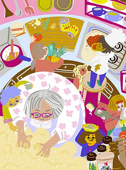Grandma Cooking Print by Harumo Sato