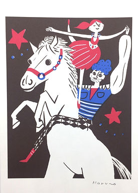 Horse and Dancers Print by Harumo Sato