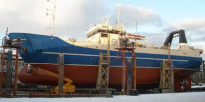 This is a stern trawler built in Faroe Islands which we have for sale on behalf of the owner. The trawl, bridle and gilson winches are from Norwinch. the fish hold is cooling down to 0 deg. C.