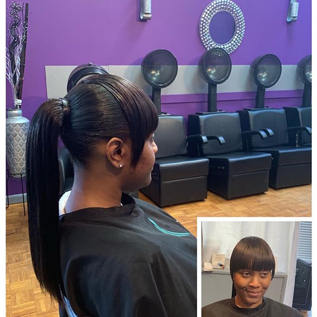 Natural hair ponytail with bonded bang #