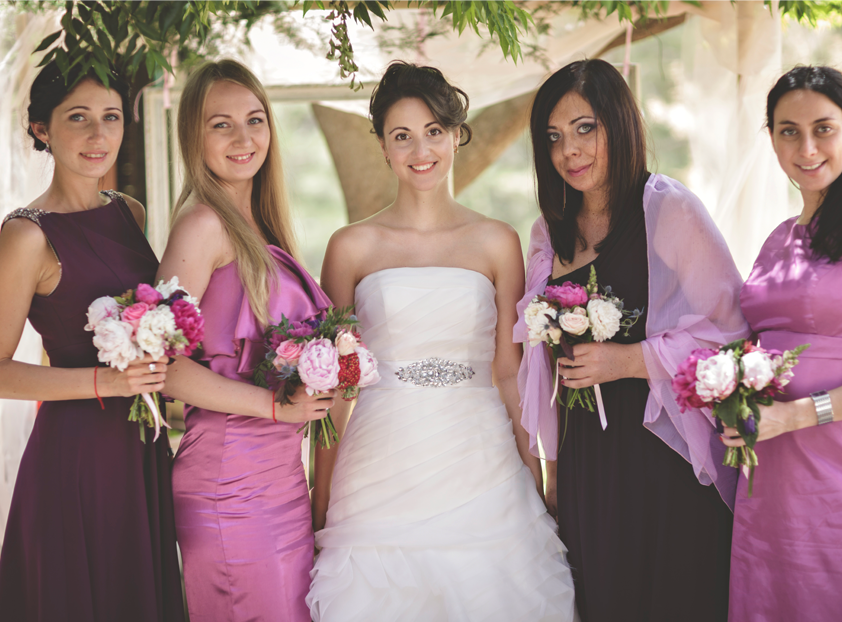 Bride-Bridesmaid-Purple-Gowns