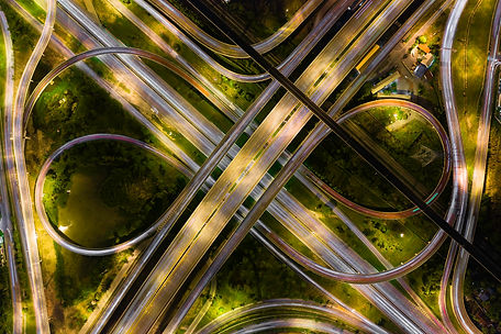 Aerial-view-of-highway-at-rush-hour-at-n
