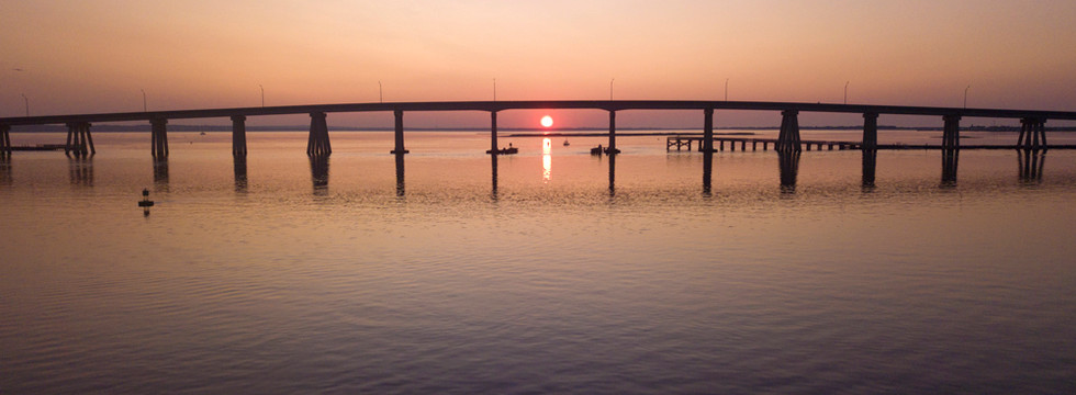 Sunrise under Ponquogue Bridge