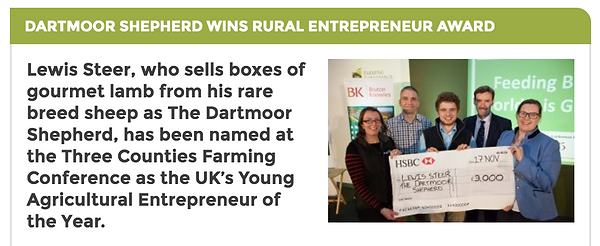 Lewis Steer wins Rural Business Awards article