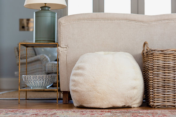 Cropped White Sheepskin Bean Bag