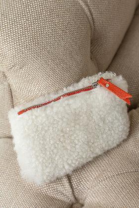 White Cropped Teddy Sheepskin Purse