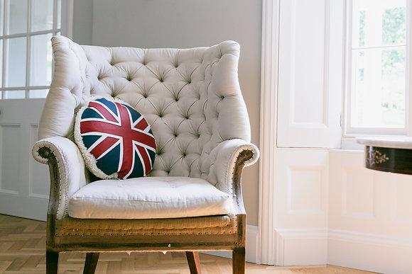 Union Jack Leather & Sheepskin Cushion