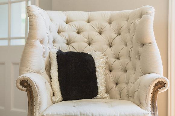 Black Mismatch Sheepskin Cushion