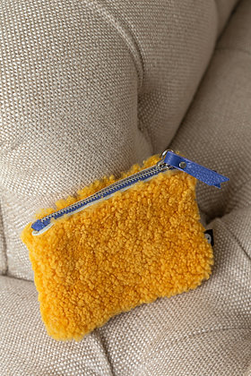 Yellow Cropped Teddy Sheepskin Purse