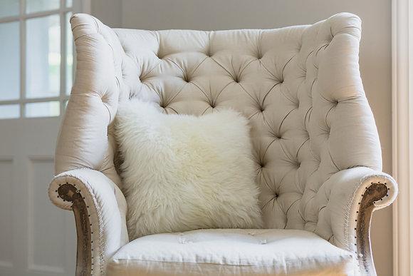 White Closewool Sheepskin Cushion
