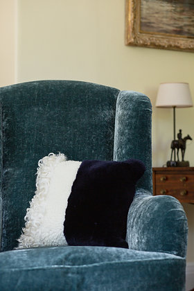Navy Mismatch Sheepskin Cushion