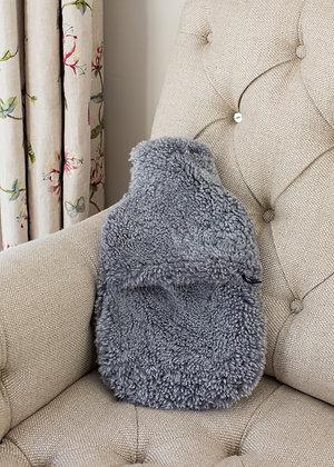 Grey Sheepskin Hot Water Bottle Cover