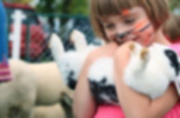 Girl holds rabbit
