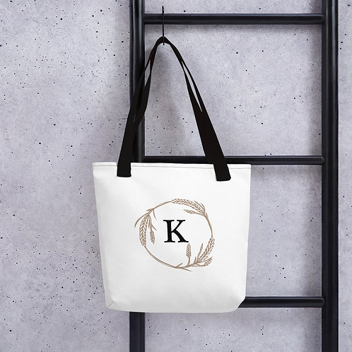 """K"" Monogramed Wheat Tote bag"