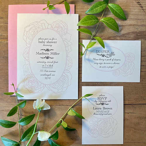 Rose Paper Cut Custom Invitation (includes proofing process)