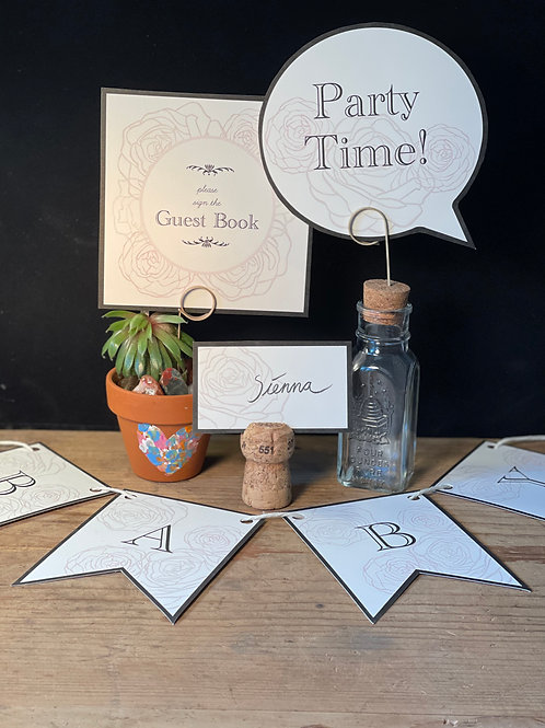 Rose Paper Cut Baby Shower Party Kit