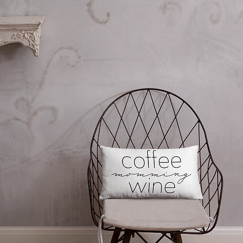 Coffee, Momming, Wine, Repeat Basic Pillow