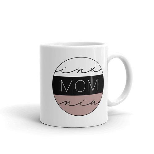 insMOMnia Logo White glossy mug