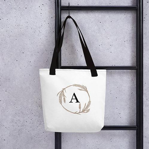"""A"" Monogramed Wheat Tote bag"