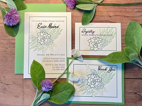 Succulent Paper Cut Custom Invitation (includes proofing process)