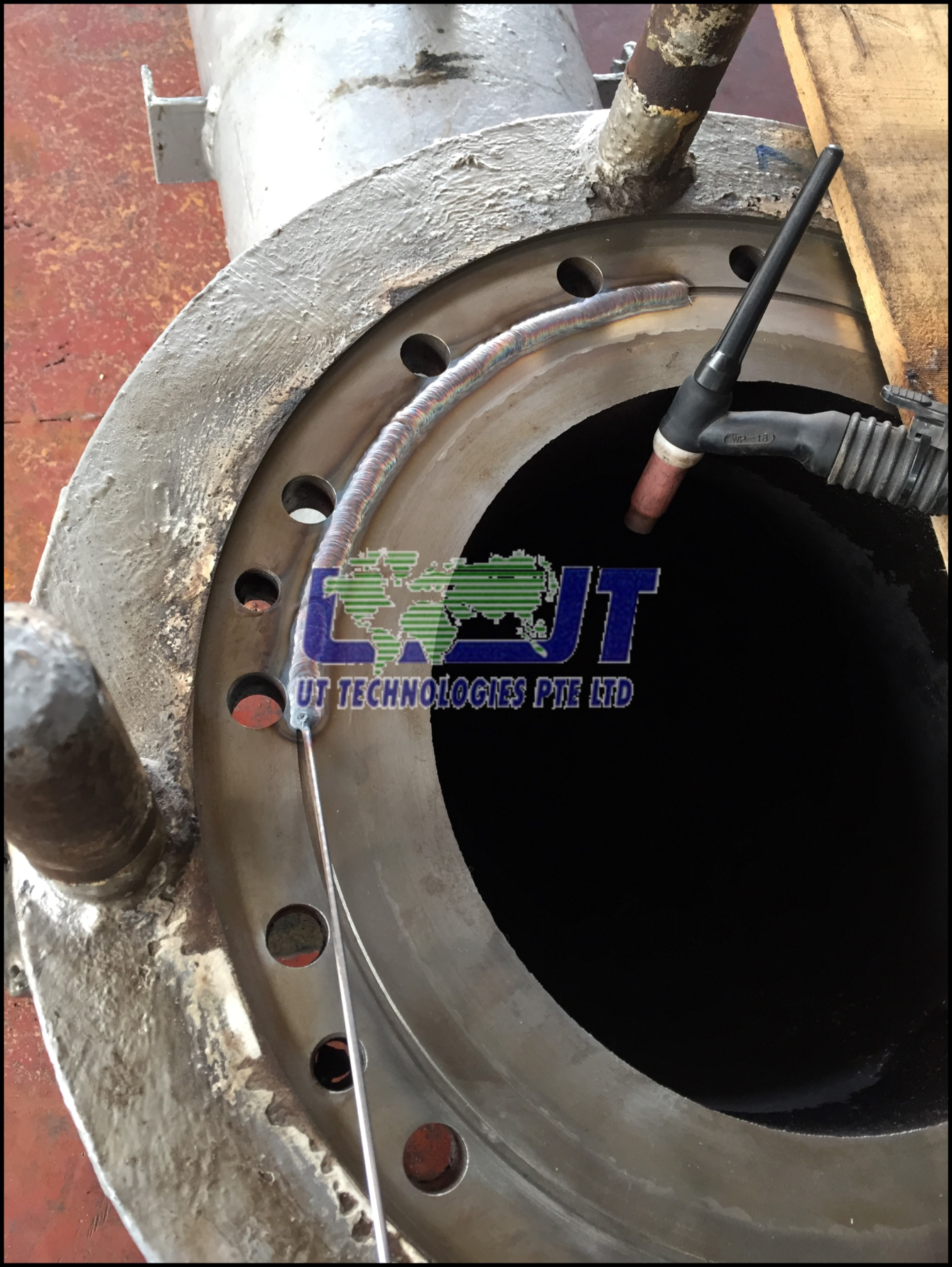 TIG SUS welding repair on Flanges