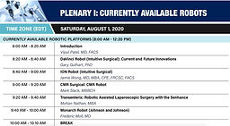 World Robotic Symposium 2020 - PLENARY I: CURRENTLY AVAILABLE ROBOTS