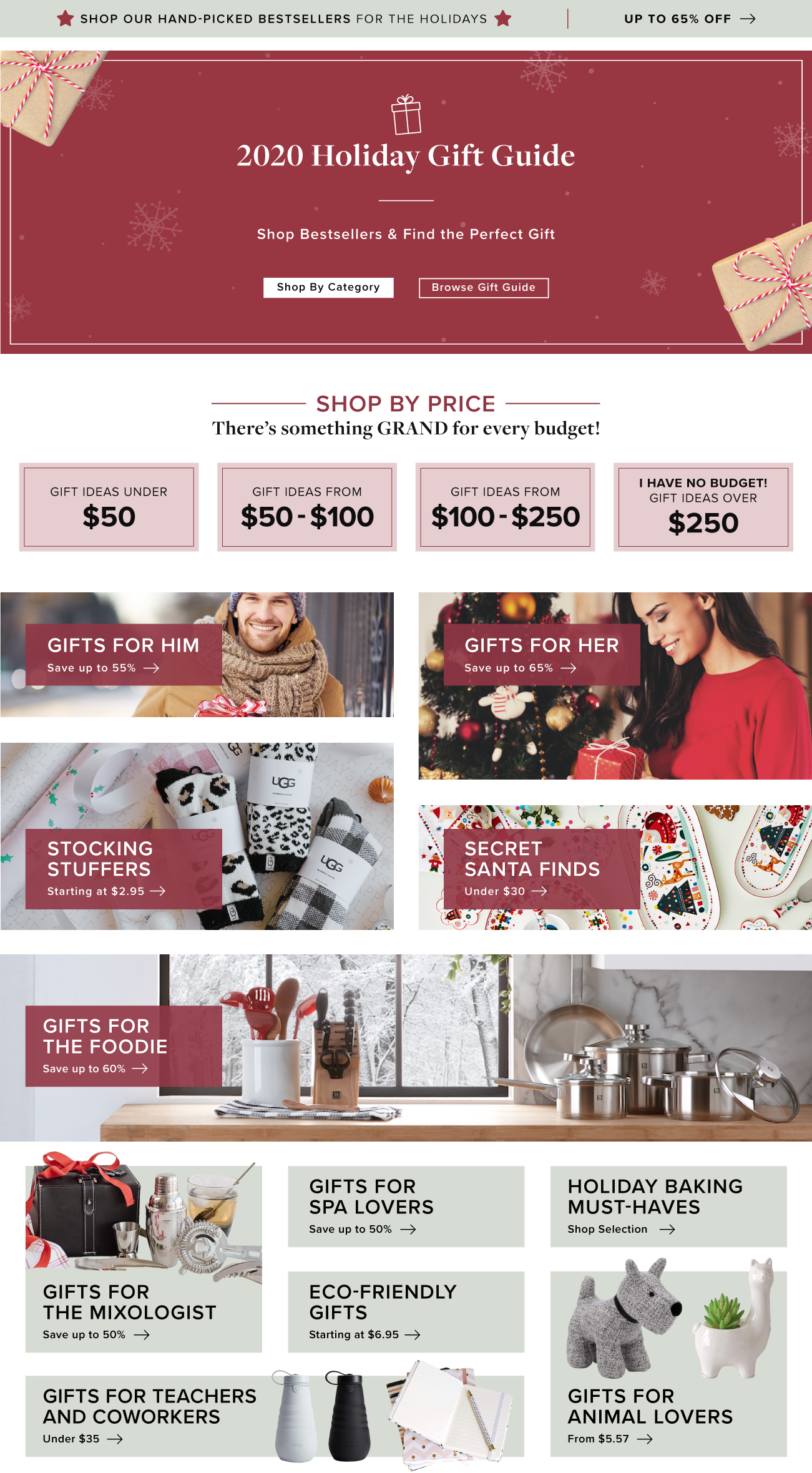 Section of Gift Guide - Desktop