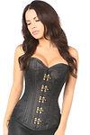 black brocade steel bones corset with cl