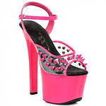 ellie neon spike stripper sandals - pink