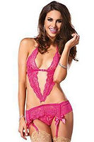 pink lace garter teddy with crotchless p