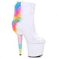 ellie white 7 inch furry unicorn ankle d