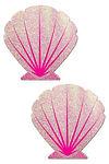 baby pink glitter seashell nipple pastie