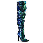 5 inch heel green sequined thigh high bo