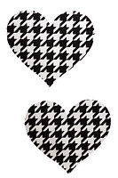 black and white houndstooth heart nipple