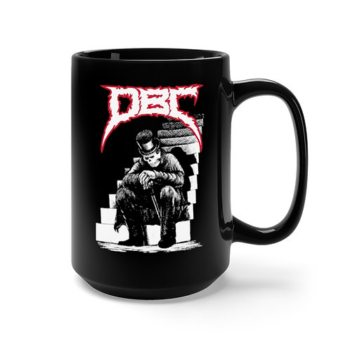 Skeleton on Stairs Black Mug 15oz