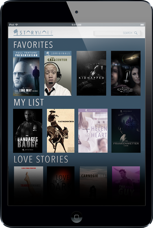 Storymore App Homepage on an Ipad.  Choose a story cover to listen.