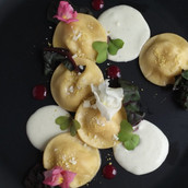 Pear & Mascarpone Ravioli with  Creamy Pistachio Gorgonzola Sauce