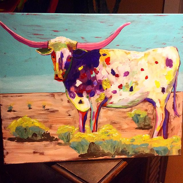 New 16 X 20 longhorn painting