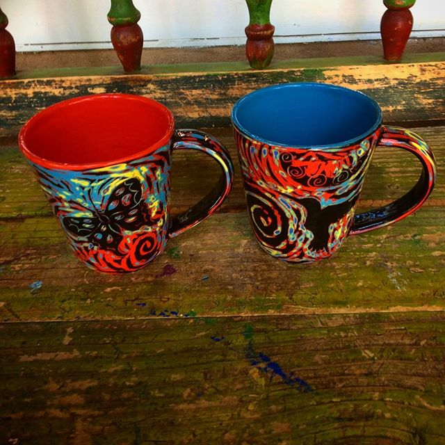 A couple of new John Hutson mugs now at Coyote Moon in Taos, NM