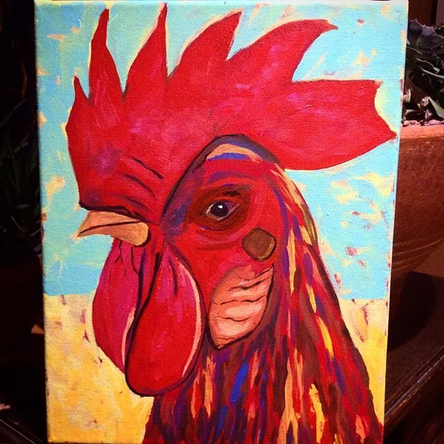 11 X 14 Rooster painting