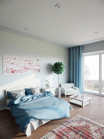 Blue bedroom window view