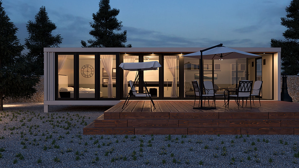 Container house night render