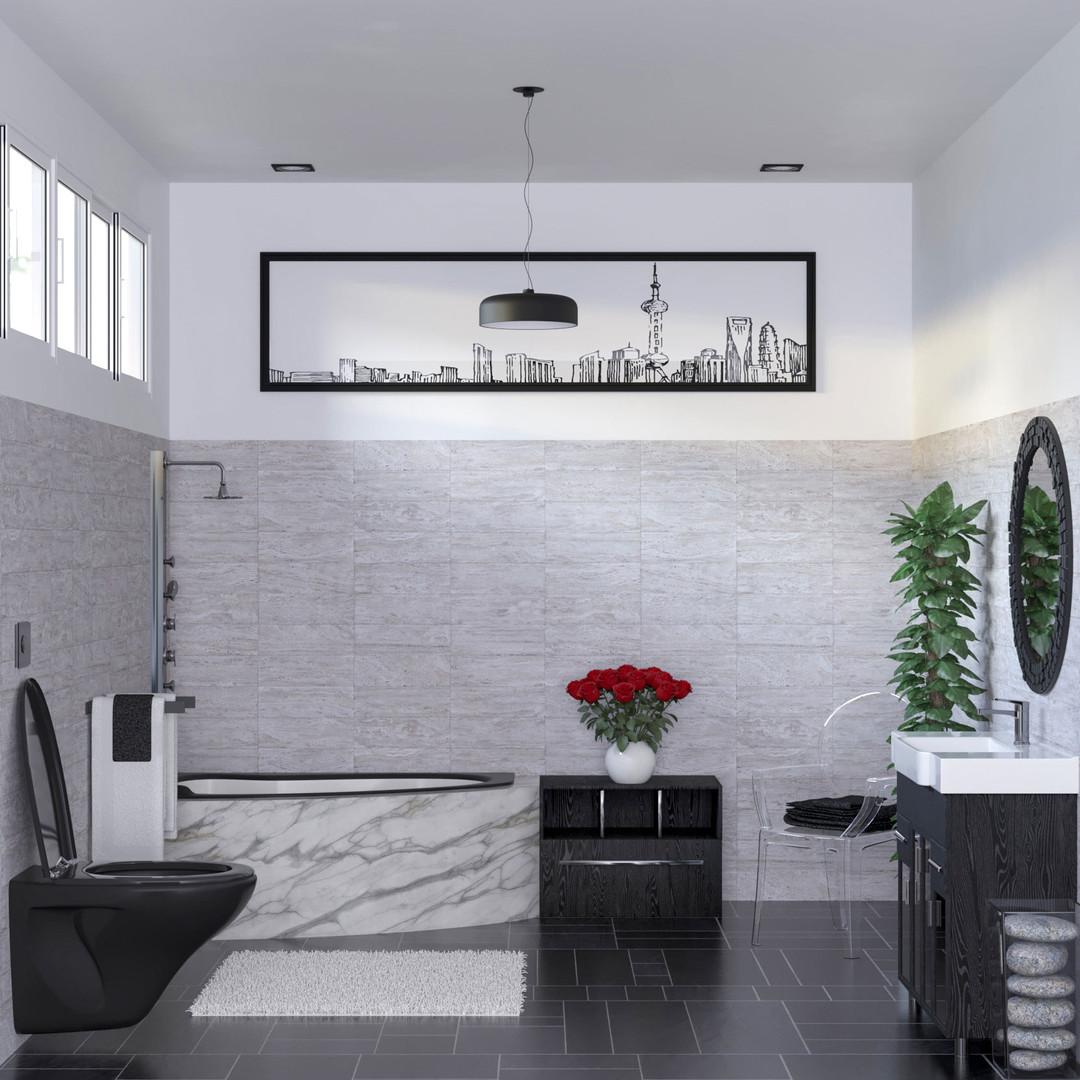 Black and white bathro