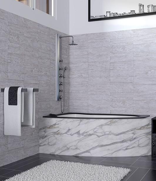 Black and white bathroom tub view
