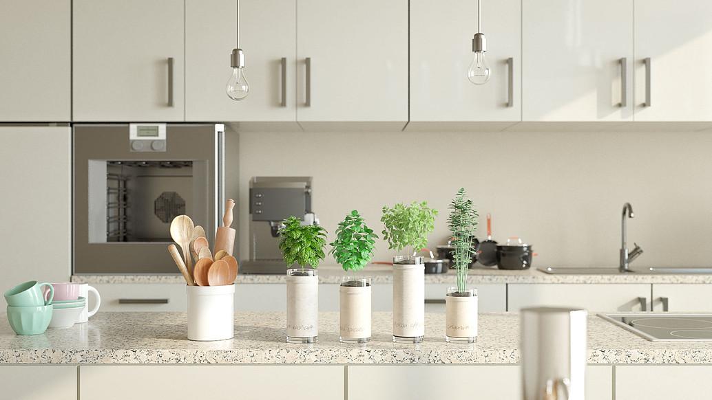 Modern white kitchen render